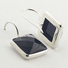 earrings 925 sterling silver Square Black agate gemstone facet cut 25mm drop