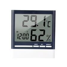 LCD Innenthermometer Hygrometer Zimmerthermometer Luftfeuchte Digital Uhr Weiß