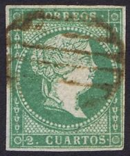 Spain 1855 2 Cuartos Green Very Fine Used Thin white paper