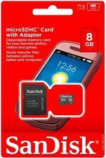 SanDisk 8GB MicroSDHC MicroSD SDHC SD Class 4 Flash TF Memory Card