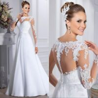 White Ivory Wedding Dresses Bridal Gowns A Line Laced Long Sleeves Plus SZ 4-30