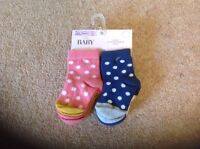MARKS AND SPENCER BABY GIRL ASSORTED SPOTTY SOCKS X 4 PAIRS 0-6 MONTHS BNWT