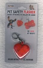 2 - PET SAFETY FLASHERS ~ HEART SHAPE W/EASY CLIP ON + ID LABEL ~ NEW