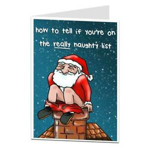 Funny Rude Christmas Card Offensive Naughty List Design Luxury Humorous Design