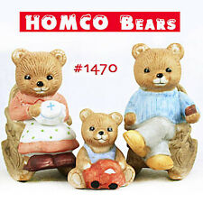 3 Vintage Homco Bears in Rocking Chairs+Baby~Dad w/Pipe & Mom w/Needlepoint Nice