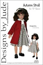 """Autumn Stroll Doll Clothes Sewing Pattern 12"""" Senson Dolls Designs by Jude"""