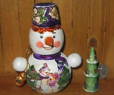 Russian Hand Painted Small Nesting Doll Snowman & Christmas Tree MAMAYEVA signed