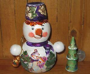 Nesting Doll Russian Matryoshka Small Snowman & Christmas Tree MAMAYEVA signed
