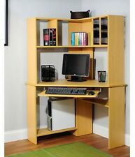 Morgan Compact Computer Corner Office Desk Table With Hutch Shelves Storage, New