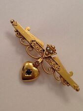 Charming Romantic Victorian 15ct Gold Sapphire Set Heart & Seed Pearl Brooch
