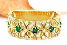 0.45 Carat Natural Emerald 14K Solid Yellow Gold Diamond Ring