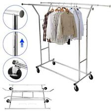Portable Double-bar Garment Rack Hanger Holder Adjustable Steel Clothes Rack