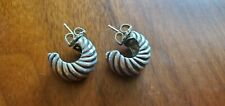 PRICE SLASHED!! David Yurman-Sterling Silver Huggie Sculpted Cable Earrings