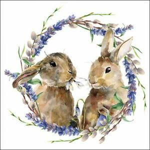 Rabbit Wreath 4 Napkins 33x33cm Easter Decoupage Paper Table BUY 4 GET 1 FREE