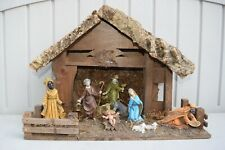 Vintage 10 Piece Resin Nativity Set w/ Wood Manger Scene From Italy