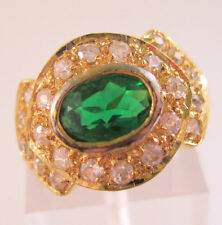 PCI Signed Faux Emerald & Faux Diamond Ring Size 5 Vintage Jewelry Jewellery