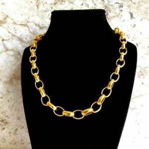 10mm Width Gold Color Shiny Stainless Steel Elipse Link Chain Necklace Jewelry