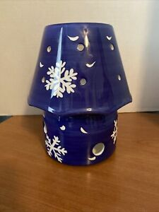 Large shade/topper With Base White Snowflakes/Doves  BLUE/ WHITE