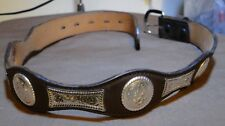 Belt & Buckle - Brown Leather with Metal Decor - 26 - 3D Belt 3622 - 1