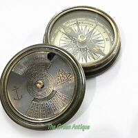 Antique Brass Calendar Compass Mini Maritime Collectible Gift