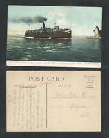 1907 CITY OF BENTON HARBOR PLYING BETWEEN ST JOE & CHICAGO LIGHT HOUSE POSTCARD