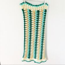 Blue/Green/Cream/Tan Afghan Blanket Throw Hand Crocheted Cottage Core 45x80 Inch