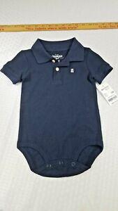 OshKosh B'gosh Baby Boys NAVY BLUE One Piece Collar Buttons Polo, NWT 12 months