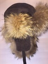 Medium Raccoon Fur Leather Crown Cap Winter Hat