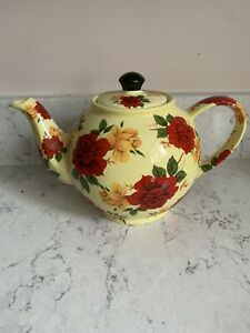 Paul Cardew teapot Rare Vintage Yellow And Red Rose Collectable