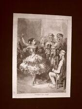 Incisione di Gustave Dorè del 1874 Ballo Academia de baile a Siviglia Spagna