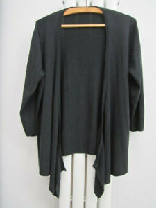 Marks & Spencer womens cardigan black waterfall style 3/4 length sleeves size 20