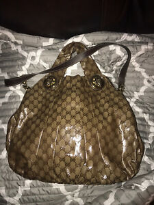 Authentic Gucci Crystal Monogram Medium Hysteria Tote Dark Brown