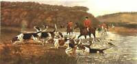Douglas Fox Hunting Antique LARGE Print 1883 Horse Hounds Crossing Brook 71x43cm