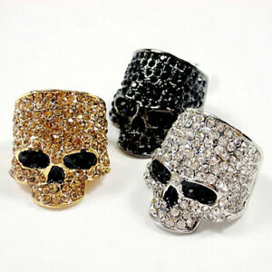 Chino Antrax Cool Punk Skull Ring Rock Gold Silver Black Biker Jewelry Men Women