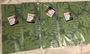 Fiesta Tropical Leaf Green Placemat Reversible Cool Lot Of 4 PVC NIP Palm 15x15