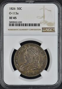 1826 Bust Half Dollar 50C O-113a XF45 NGC Coingiants