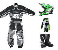 Kids Wulfsport MX Motocross Overall Glove Boots Helmet Green Set #O9