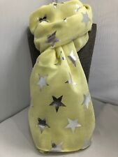 Star Scarf Pastel lemon with all over Silver foil Stars gift NEW star on trend