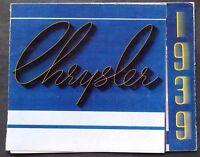 "ORIGINAL 1939 CHRYSLER IMPERIAL & ROYAL SALES FOLDER ~ 7.5"" X 6.75""  ~ CIR39"