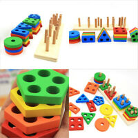 Educational Baby Kids Child Puzzle Wooden Toy Geometric Sorting Board Blocks qwe