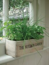 4 Herb Seed Kit w/ Plant Pot & Wood Trough for Indoor Home/Kitchen Garden New