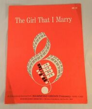 Irving Berlin's The Girl That I Marry Vintage Sheet Music Hammond Organ 1966
