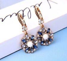 Betsey Johnson Fashion rare Alloy rhinestone Enamel Flower drop earring Jewelry