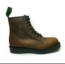 SOLOVAIR Made in England 'Crazy Horse' Brown 8 eye Derby Boots NEW size 10