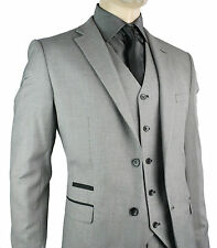 Men Slim Fit Suit Grey Black Trim 3 Piece Work Office or Wedding Party Suit