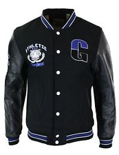 Mens Baseball Varsity Letterman College Fleece Jacket Badge PU Leather Sleeves