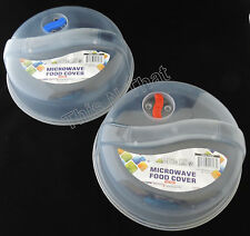 Two Plastic Microwave Plate Covers With Steam Vent Splatter Lid Clear Food Dish