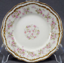 Pair of Haviland Limoges Schleiger 844 Pink Rose & Double Gold Bread Plates