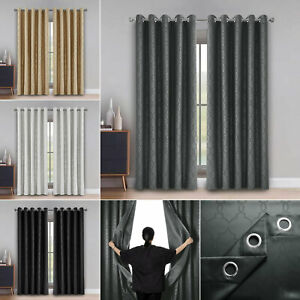 Ready Made Heavy Duty Ring Top Blackout Washable Curtain Pair With Tie Backs