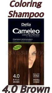 Delia Cameleo Coloring Shampoo 0% Ammonia Washable Colors 4-6 Washes 4.0 Brown